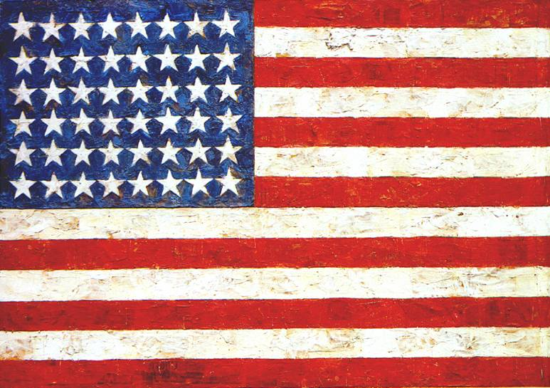 Jasper_Johns's_'Flag',_Encaustic,_oil_and_collage_on_fabric_mounted_on_plywood,1954-55